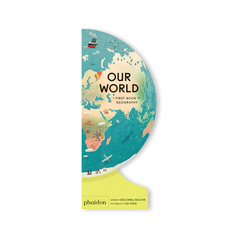 A read-aloud introduction to geography for young children that, when opened and folded back, creates a freestanding globe