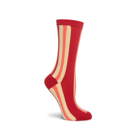Side view of a foot mannequin wearing a sheer crew sock with a thick, red vertical stripe, top ribbing, reinforced toe and heel, accented by thin vertical stripes of salmon color.