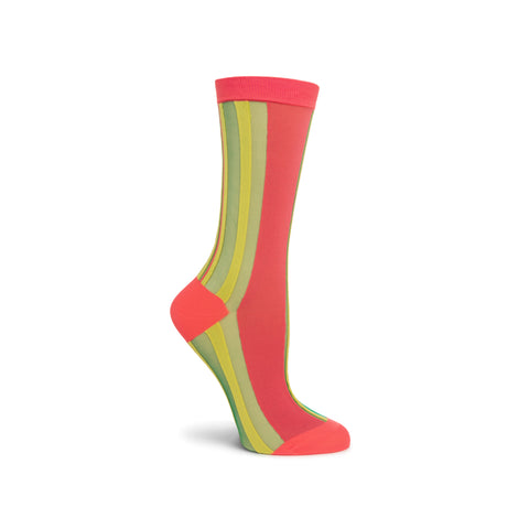 Side view of a foot mannequin wearing a sheer crew sock with a thick, salmon-colored vertical stripe, top ribbing, reinforced toe and heel, accented by thin vertical stripes of yellow and green.