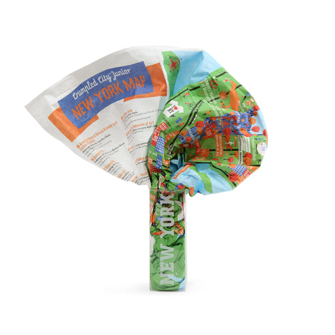 A crumpled, colorful piece of fabric squeezing into a small clear package labeled New York. The crumpled fabric appears to have green space and illustrations of icons.