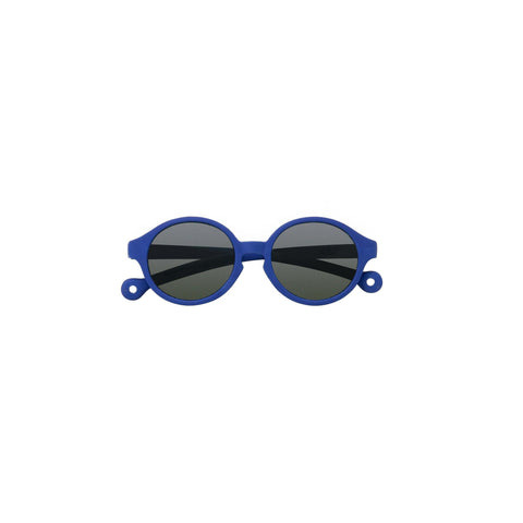 A pair of children's round framed sunglasses in a royal blue color.