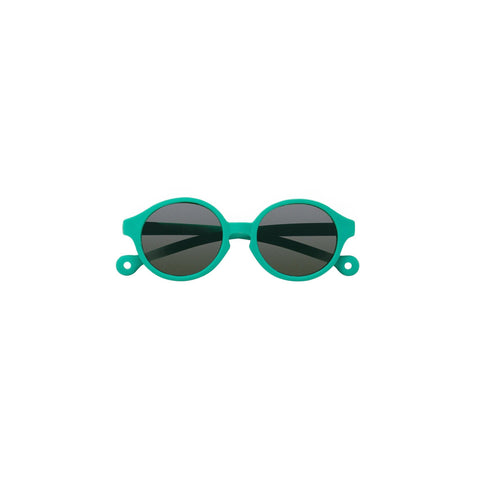 A pair of children's round framed sunglasses in a jade green color.