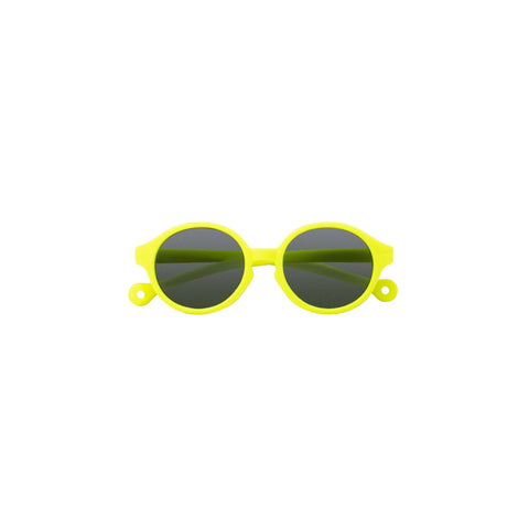 A pair of children's round framed sunglasses in a yellow color.
