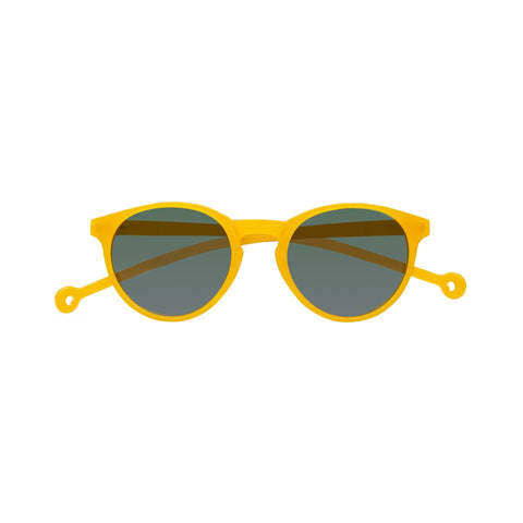 Round-shaped framed sunglasses in mustard yellow with a high nose bridge.