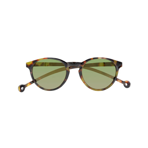 Round-shaped tortoise framed sunglasses with a high nose bridge.