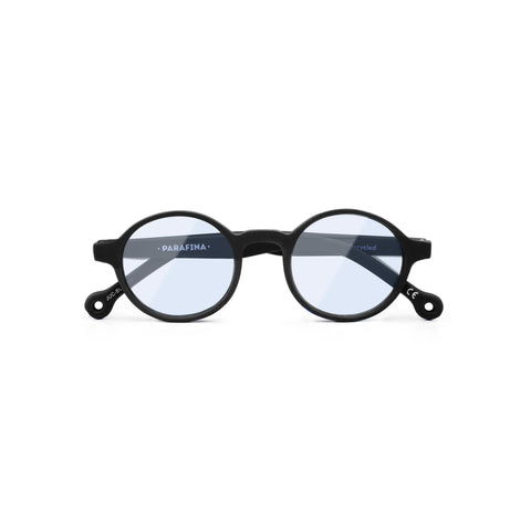 60's style round framed reading glasses in black. Brand name is embossed on the inner temple arm of the frames.