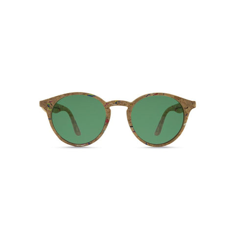 Side angle view of the Laguna Cork Sunglasses Amazonas, which have square-rectangular frames made of cork flecked with color, and green lenses.