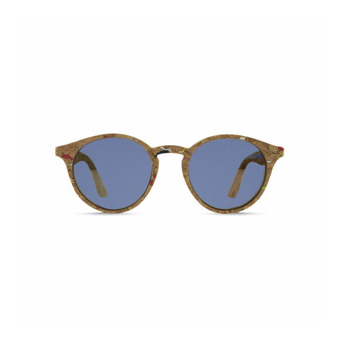 Front view of the Laguna Cork Sunglasses Blue, which have round frames made of cork flecked with color, and blue lenses.