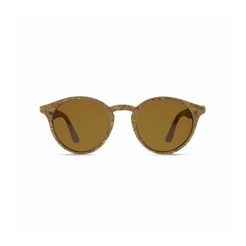 Front view of the Laguna Cork Sunglasses Caramel, which have round frames made of cork flecked with color, and caramel lenses.