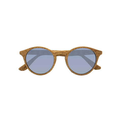 Round framed sunglasses with a cork frame and polarized lens.