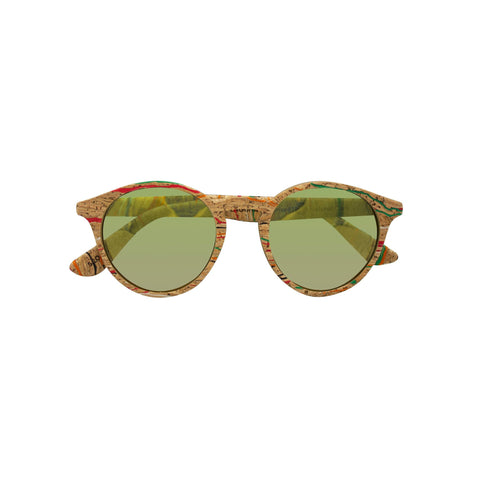 Round framed sunglasses with green tinted lens. The frame is made from a cork material that includes various speckles of green and read throughout.