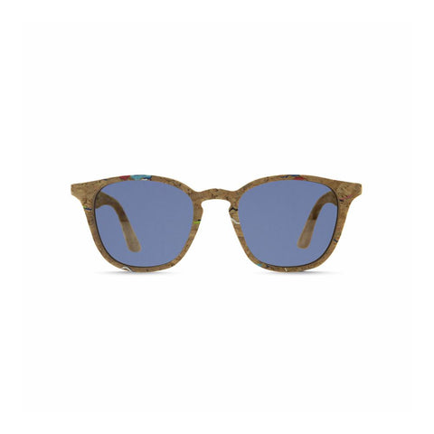 Front view of the Niebla Cork Sunglasses Blue, which have square-rectangular frames made of cork flecked with color, and blue lenses.