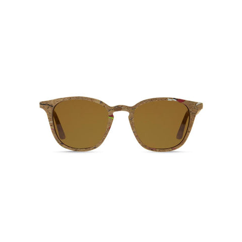 Front view of the Niebla Cork Sunglasses Caramel, which have square-rectangular frames made of cork flecked with color, and caramel lenses.