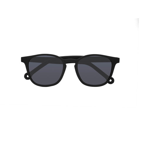 Wide frame square sunglasses in black.