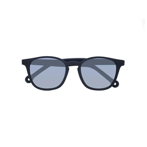 Wide frame square sunglasses in dark navy blue.