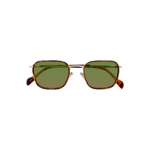 Wide framed square sunglasses with green tinted lens and thin metal frame in tortoise. The nose bridge is a light gold color.