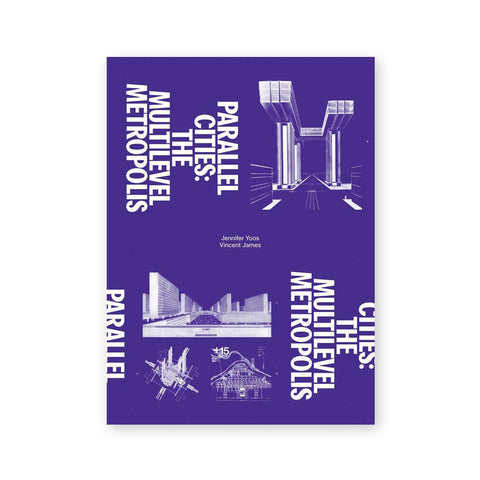 Purple book cover with architectural schematics in the bottom right and lower left corners. Title printed in white sans serif letters rotated ninety degrees to the right and repeated in upper left and bottom right corners