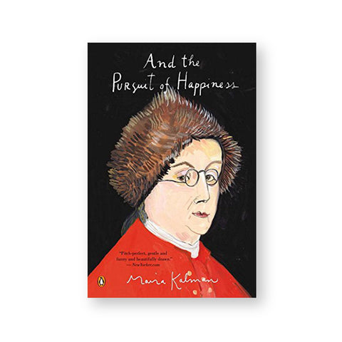 Book cover with illustration of a light skinned figure wearing a brown fur hat and bright read jacket against a black background. Title in white handwritten script above