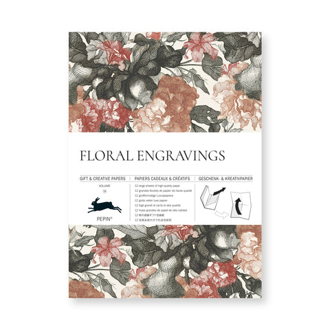 Cover of wrapping paper book featuring red, black, and cream engraved floral pattern with center band noting manufacturer and paper details.