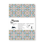 Wrapping paper book cover with colorful complicated geometric pattern. Title in white horizontal band across the middle