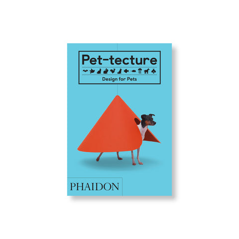 A hardback book with a teal cover. The cover features a small dog standing underneath a giant red cone. There is black text at the top of the cover that is surrounded by a black frame. The publisher's name is featured at the bottom left of the cover.