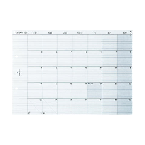 Letter sized 2020 calendar featuring ruled paper for note taking. The month/ year is printed on the top left of the calendar.