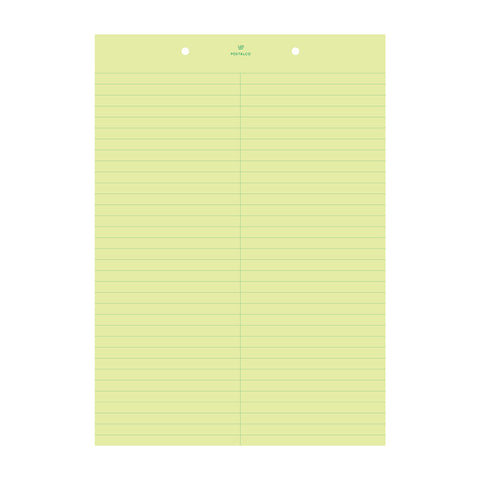 A4 stenographer pad with evenly spaced horizontal lines and a smooth writing surface. A vertical line down the center splits the paper up into two equal parts.