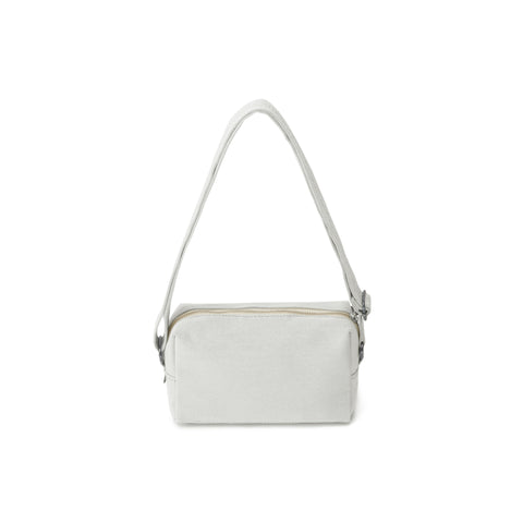 Small rectangle-shaped shoulder bag with cotton zipper and leather detailing