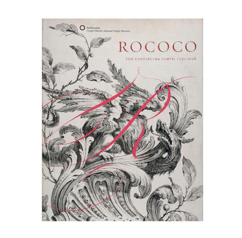Gray book cover with black engraving showing a fantastical beast among curvilinear leaves twigs and fruit. A delicate 'R' in pink calligraphy is layered on top and the title in red is above