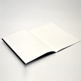 A notebook open to reveal blank white paper.