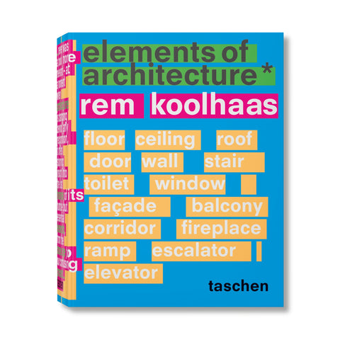 "Bright blue book cover covered with text. ""Elements of Archtitectre*"" at top in gray, highlighted in green, ""Rem Koolhaas"" below in white, highlighted in pink. Different architectural elements listed below in white, each word highlighted in yellow-orange."