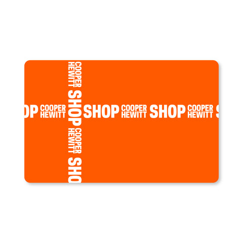 Orange, rectangular card with rounded corners. Repeated SHOP Cooper Hewitt logos cross the card horizontally and vertically, as if it were wrapped with ribbon.