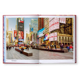 A spread from Snøhetta Collective Intuition that features a street level view of a busy city street. The image is of Times Square and includes several people ether sitting, walking, or socializing.