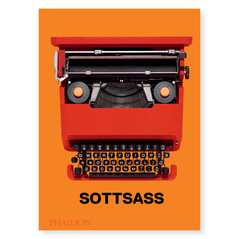 "Bright orange book cover featuring red Olivetti Valentine typewriter at the center, ""SOTTSASS"" reads on the bottom in black bold font."