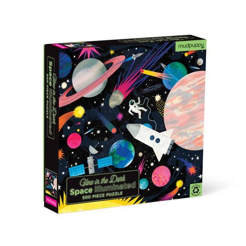 "Black, square puzzle box, standing upright, featuring a colorful outer-space themed illustration against a  starry sky. Puzzle title text at bottom left is green with a ""glow"" effect."