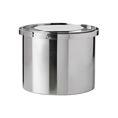 Wide, cylindrical, steel ice bucket with two handles attached at the top outer edge, curving around the perimeter. The lid has a very large flat, circular handle.