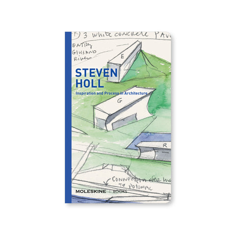 A small book with a royal blue spine. There is matching blue text on the front of the book that reads 'STEVEN HOLL Inspiration and Process in Architecture'. The text is printed over a green and white illustration of a blueprint for a building. There are scribbled notes in pencil included in the illustration.