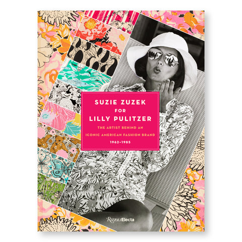 Book cover featuring a gridded collage, set at an angle, of floral patterns, framing a black and white photo of a woman in a sun hat blowing a kiss to camera. An opaque pink rectangle with white title text is overlaid at center.