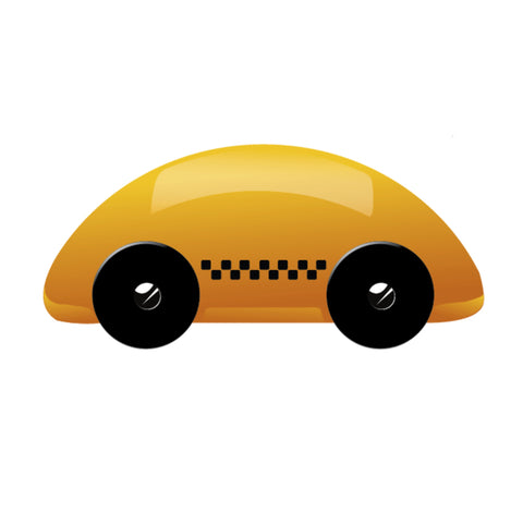 Semicircular yellow taxi car with black wheels and ska pattern on sides.