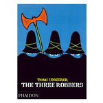 Illustrated book cover with three figures with blue faces concealed other than their eyes with black cloaks and hats. Blue background and an orange double headed axe raised above the figures