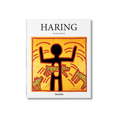 "White book cover with a square framing a graphic painting of dogs leaping through a hold in a stick figure's torso. Text above reads ""Haring"""