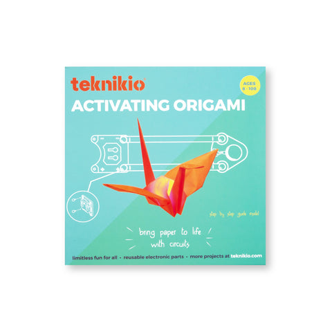 Teal Activating Origami package featuring a red-orange origami crane and a white electronics diagram.