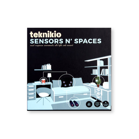Black, square, Sensors N' Spaces package featuring an ice blue illustration of a living room, four objects in the room are circled, and have sensors illustrated on them.