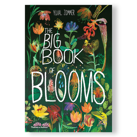 Forest green cover with drawn images of colorful flowers and insects. The title of the book designed to resemble white chalk.