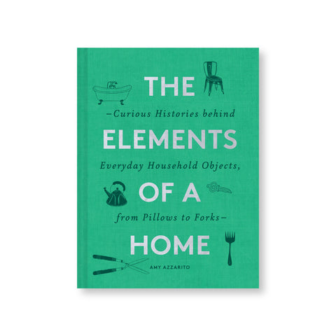 Green book cover with spot illustrations of a bathtub, chair, kettle, shears, fork, and key, surrounding large silver title text.