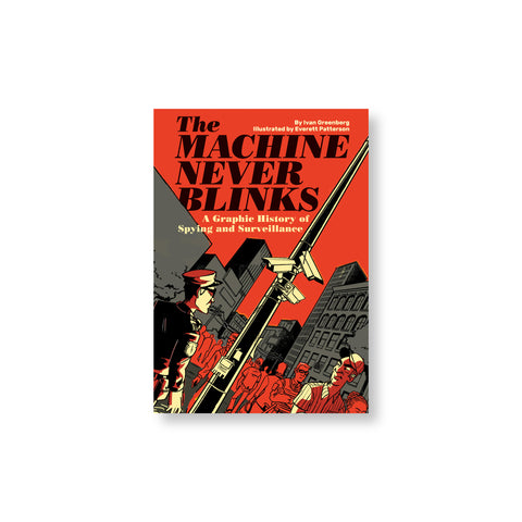 Illustrated book cover in cream black gray and red tones. Figures surround a pole with security cameras some looking at it and some at each other