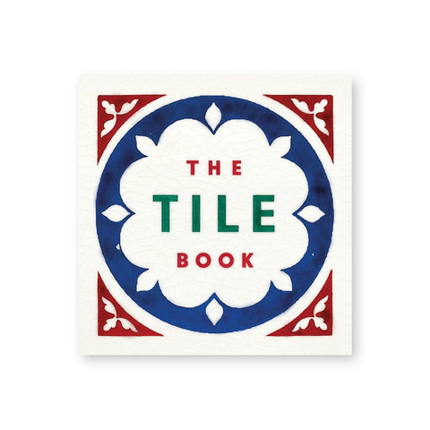 Square book cover in the form of a ceramic tile complete with crackling glaze. Blue and red floral shapes frame the title in red and green sans serif letters in the center
