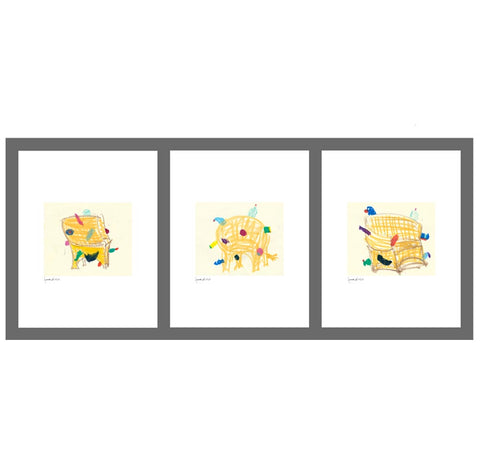 Three prints featuring a colorful sketch of chairs over beige background, printed on white paper.