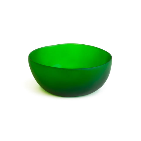 Wide green resin round cereal bowl
