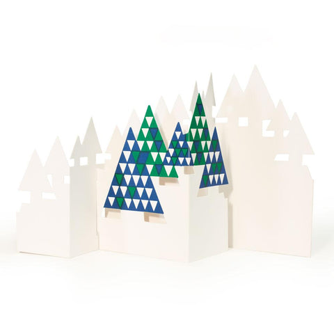Three dimensional card made of Christmas tree shapes patterned with repeating blue, green and white triangles.